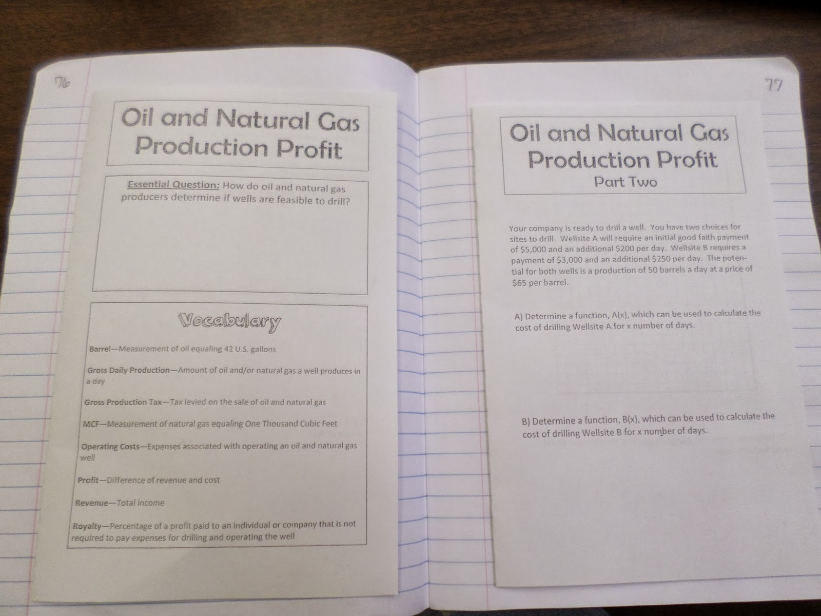 Math Love Oil And Natural Gas Production Profit Lesson
