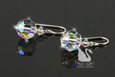 Crystal Ice Round Drop Earrings (E152)