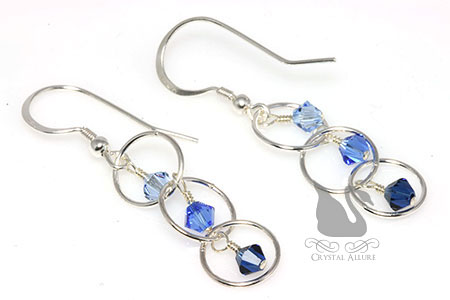 Deep Blue Circle Crystal Beaded Earrings (E261)