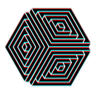 Geométrico preto e branco em PNG