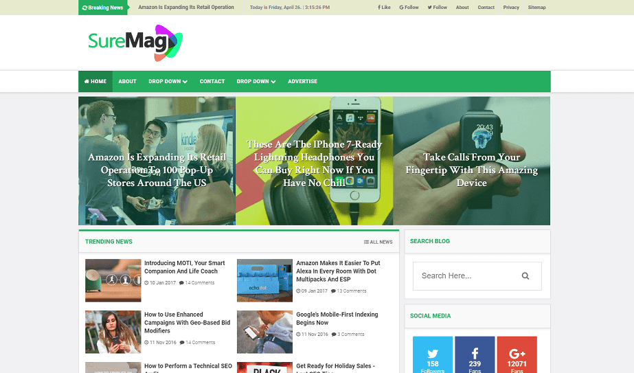 Sure Mag Best Responsive Magazine Blogger Template