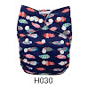 Alva Baby New Design Reuseable Washable Pocket Cloth Diaper Nappy + 2 Inserts H030