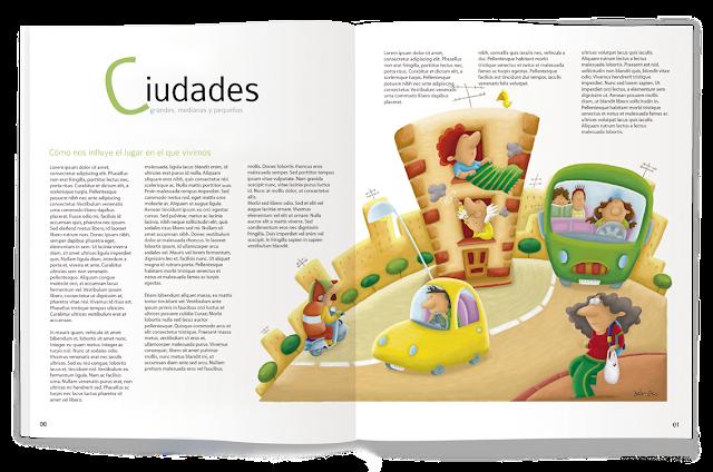 """ilustración-ciudades-revista, ana sáez del arco-illustation-town-magazine"""