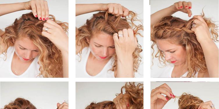 Peachy Curly Braided Top Knot Hairstyle Tutorial Toronto Calgary Short Hairstyles Gunalazisus