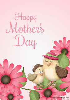 Happy mothers Day wishes with flowers and birds