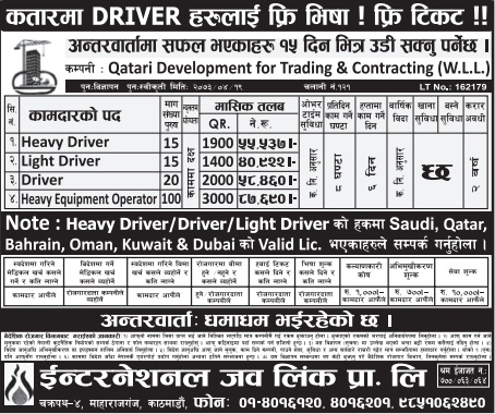 Free Visa, Free Ticket, Jobs For Nepali In QATAR Salary- Rs.87,690/