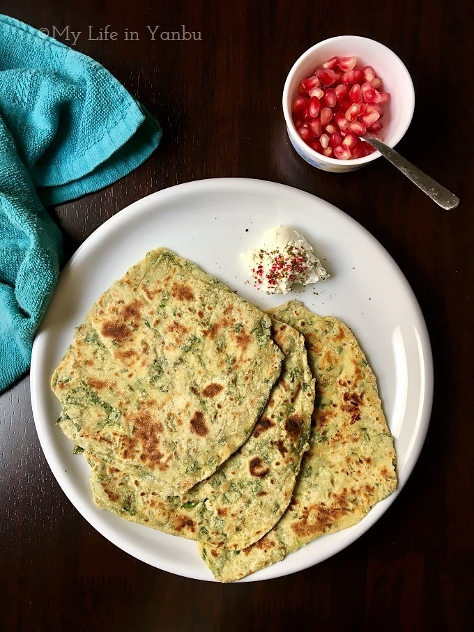 Palak Tahini Paratha | Spinach Whole Wheat Flatbread