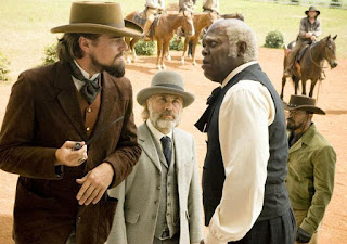 Leonardo DiCaprio Samuel L Jackson Christoph Waltz and Jamie Foxx in Django Unchained
