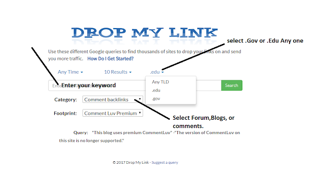 Find Gov Sites With Drop My link