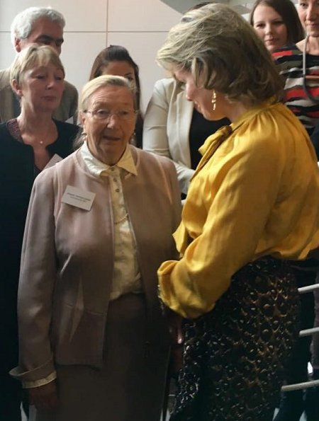 Queen Mathilde of Belgium visited ASD (Aide et soins a domicile) Home Care Center in Jambes, Namur. Natan Dress