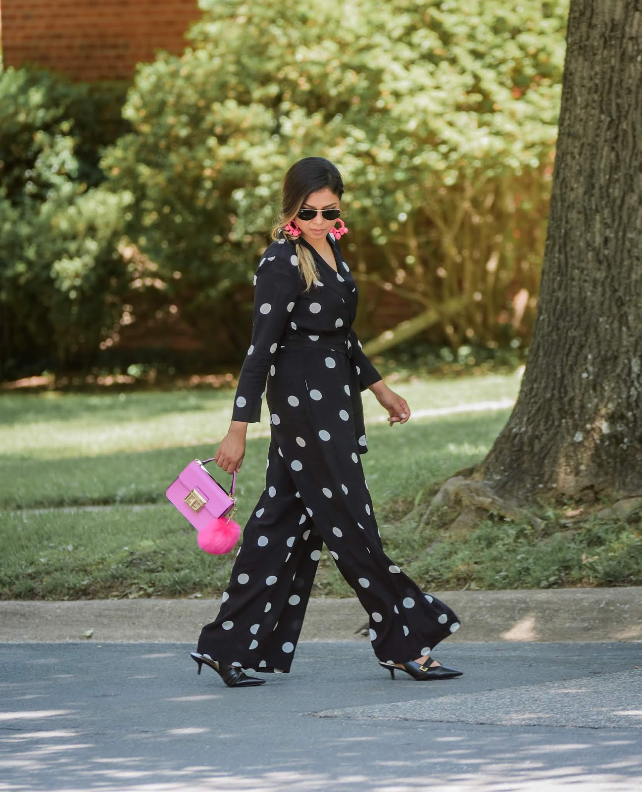 polka dot jumpsuit, mango black and white jumpsuit, spring style, fashion, style, wedding look, pink lilac fur bag, fishtail braid, kitten heels, stylist, myriad musings