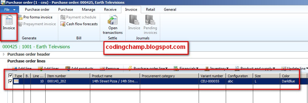Veera Creating Purchase Order and Invoice In Microsft Dynamics AX 2012