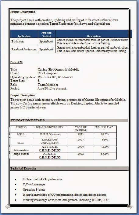 Resume Format Doc Mca Reference Format Writing