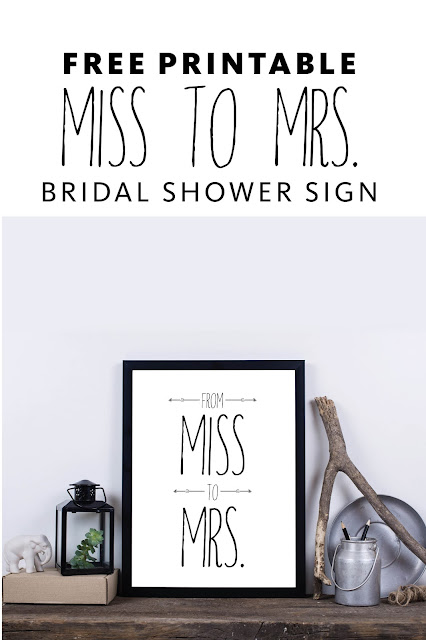 From Miss to Mrs Bridal Shower Free Printable Sign
