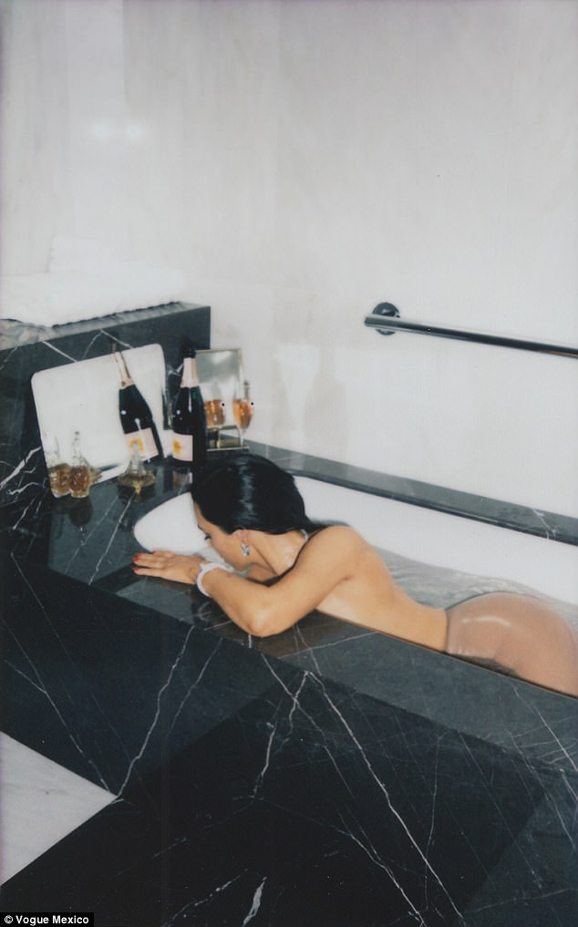 Kim Kardashian lays nude in bathtub for Vogue Mexico