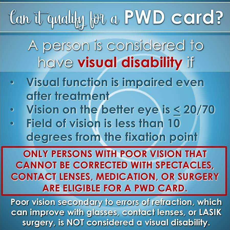 'poor eyesight, low vision' qualifications for PWD ID benefits