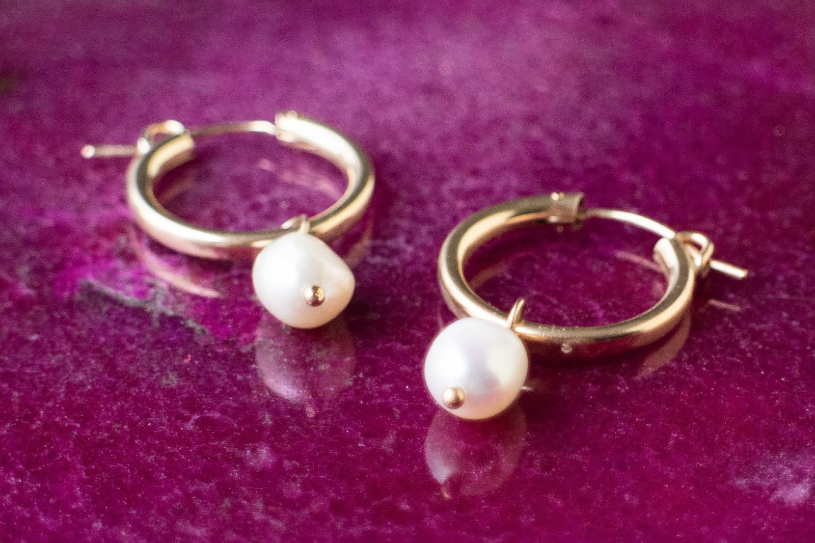 freshwater pearl and gold hoop earrings from Etsy Canada