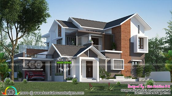 Beautiful front elevation rendering of mixed roof house