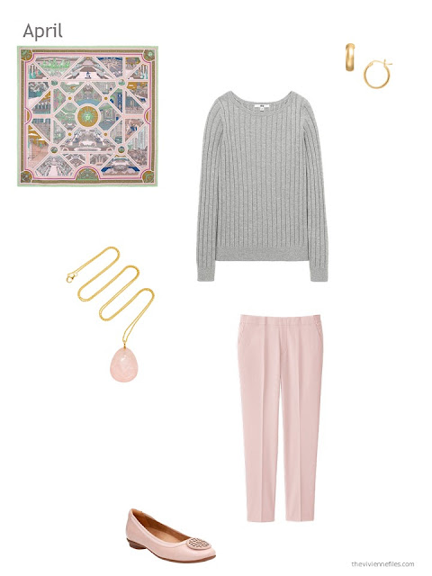 a grey and pink outfit for spring weather