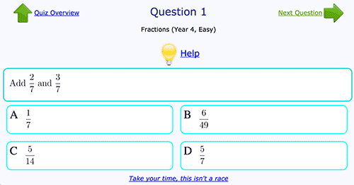 Addition of fractions - Easy level