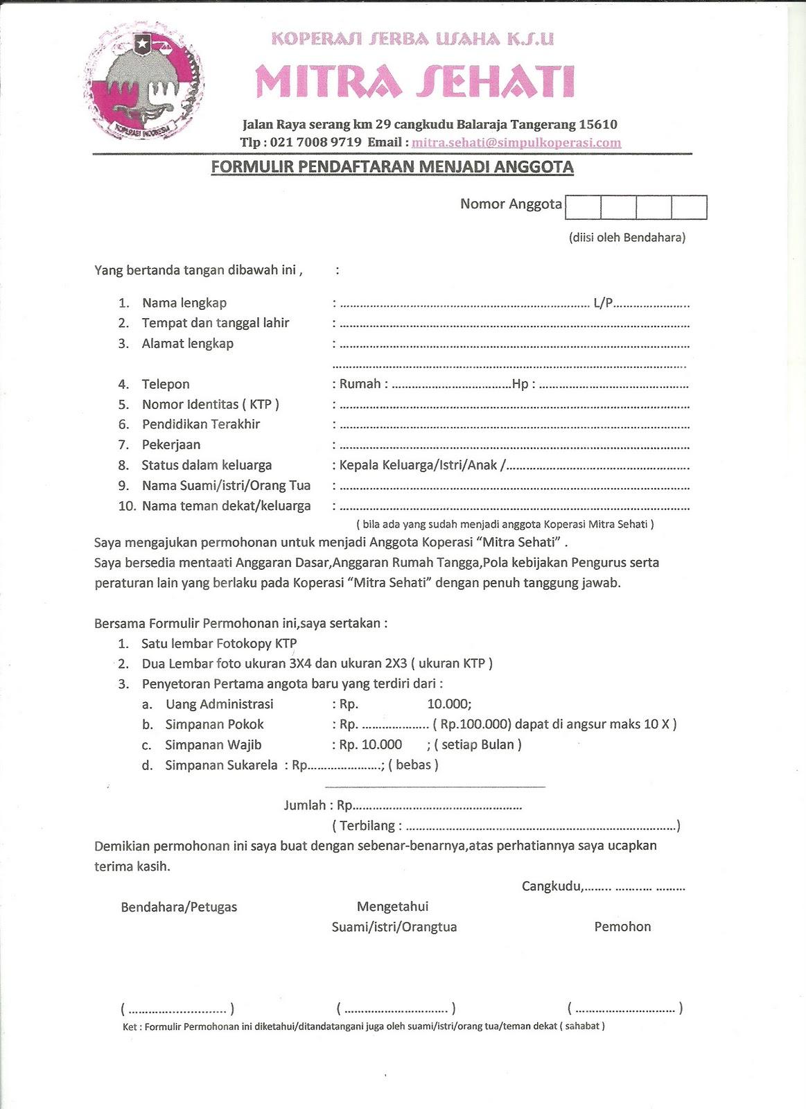 Contoh Formulir Menjadi Anggota Koperasi Lina Unpuntounarte