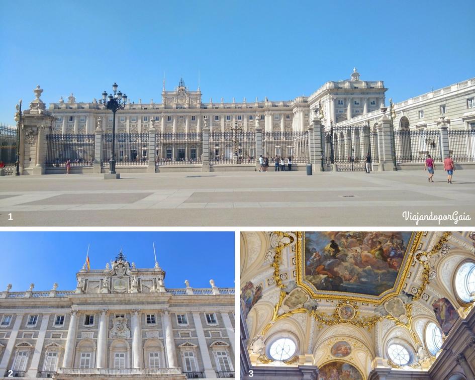 1. Palacio Real desde la explanada de la Almudena 2. Ingreso al palacio desde la plaza de Armas 3. Frescos del salón principal.