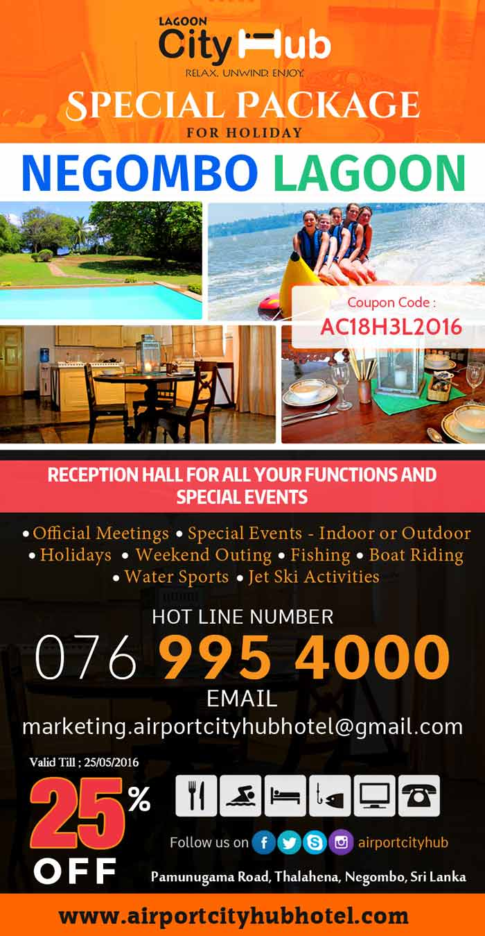 Special Package for Holidays at Negombo Lagoon.