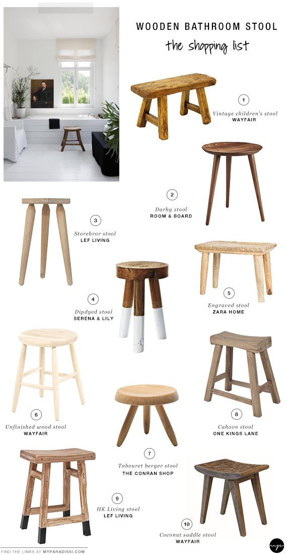 Bathroom Chairs And Stools. Rustic Wooden Stools