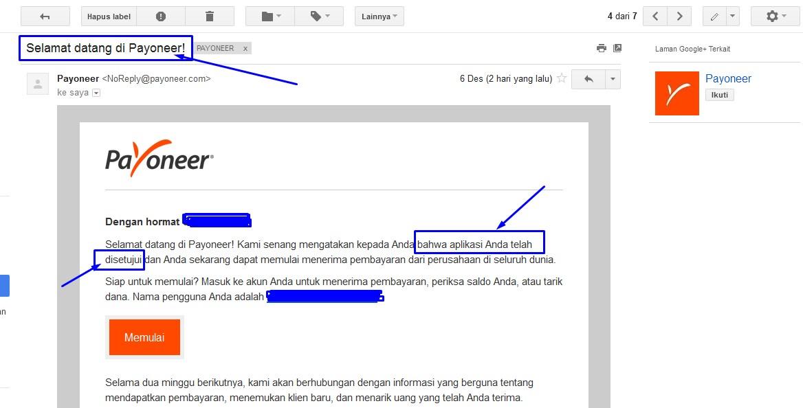 Konfirmasi email aplikasi payoneer anda telah di setujui