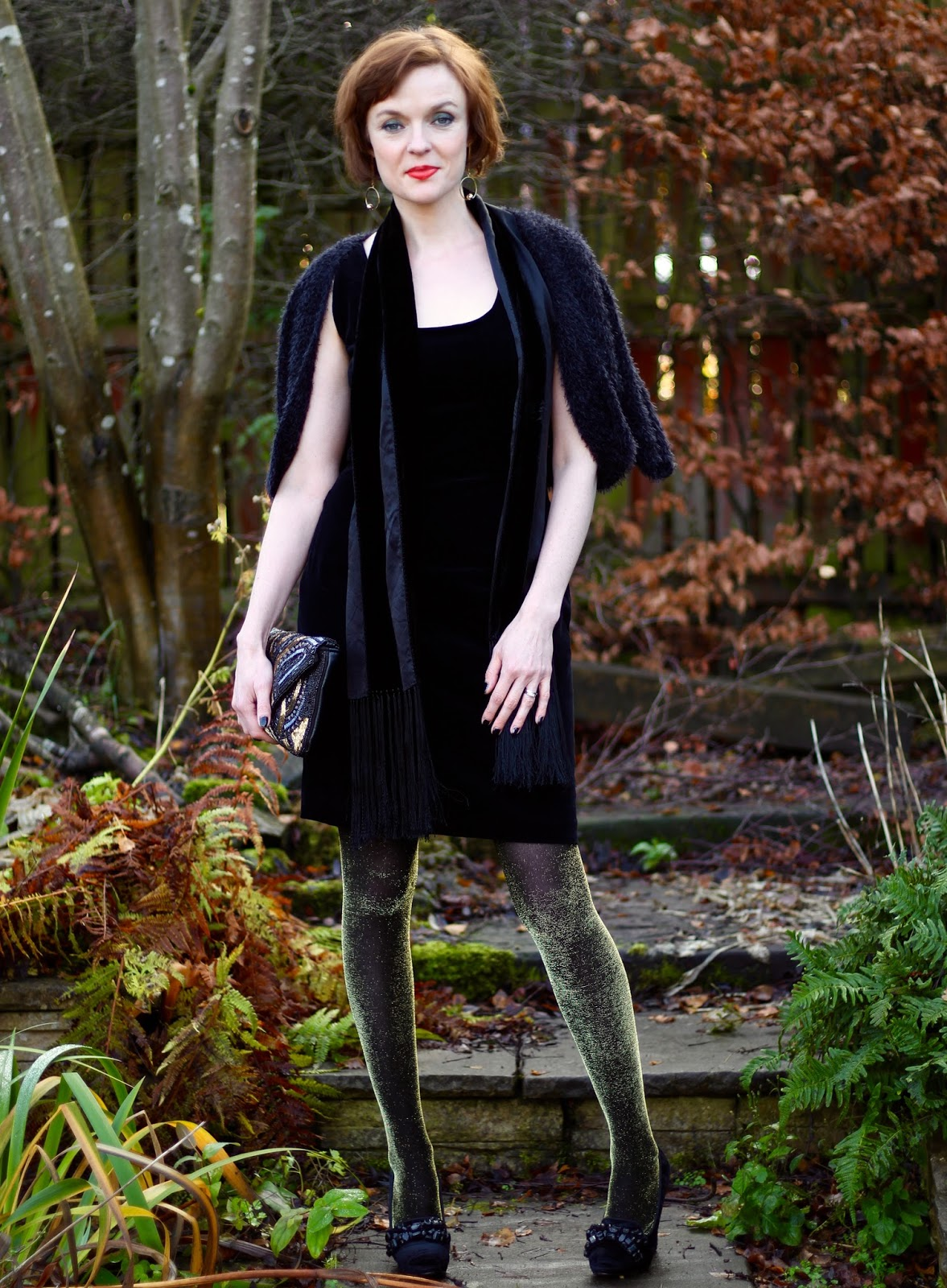 Work-to-party part 2 | Velvet, lace-up and Lurex tights | Fake Fabulous