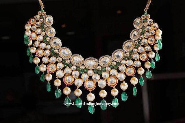 Polki Diamond Emerald Necklace