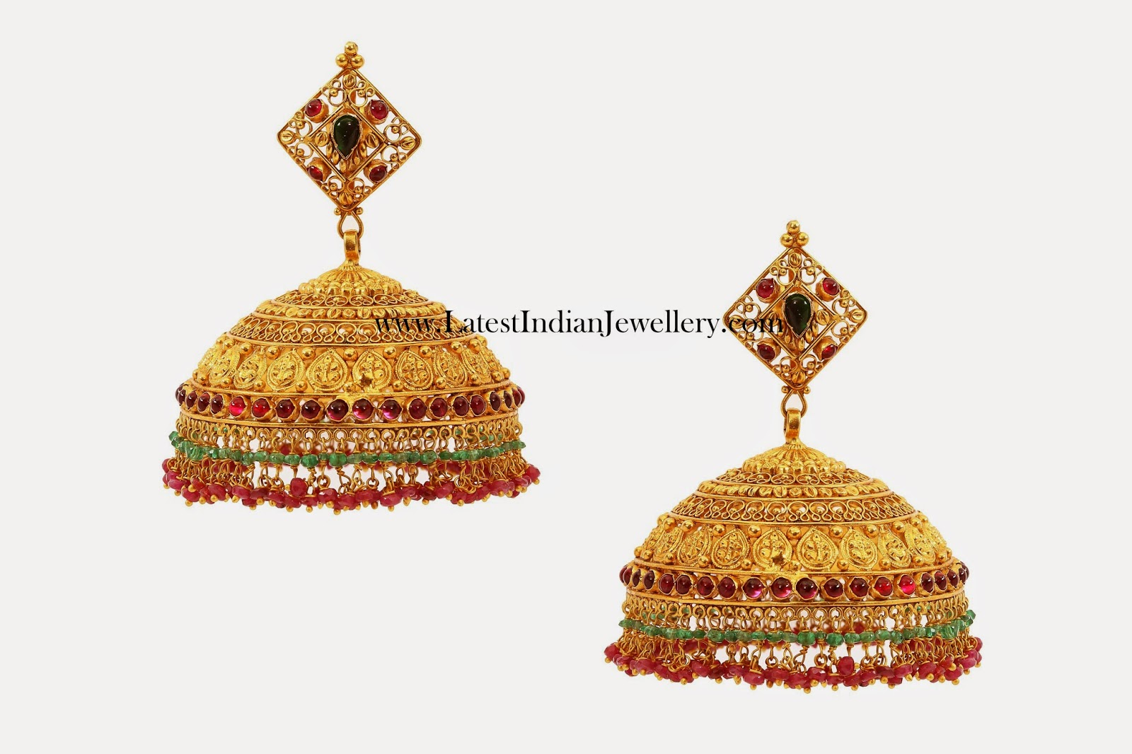Gold Jhumkas in Broad Design