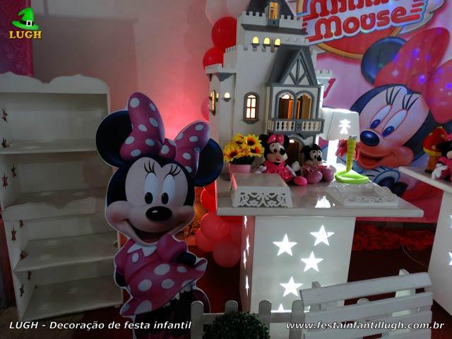 Decoração de festa infantil tema Minnie com vestido rosa - Aniversário