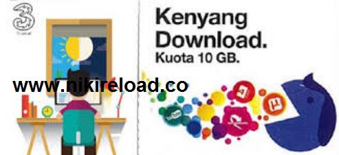 Daftar Harga Pulsa Three Data Kendo (Kenyang Download) Terbaru