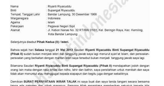 Contoh Surat Pernyataan Cerai Dari Rt Contoh Bass