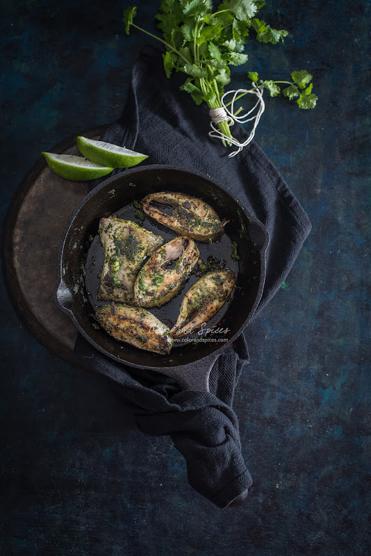 pan seared fish with spicy coriander pesto