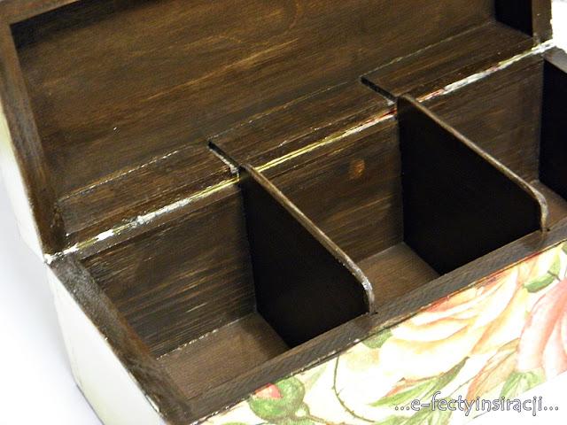 herbaciarka decoupage na drewnie