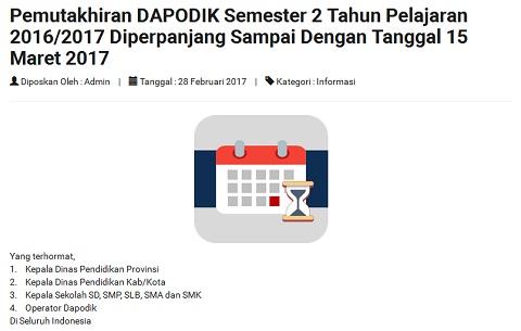 Batas Akhir Pemutakhiran Dapodik Semester 2 Tahun Pelajaran 2016/2017 Diperpanjang Sampai Tanggal 15 Maret 2017