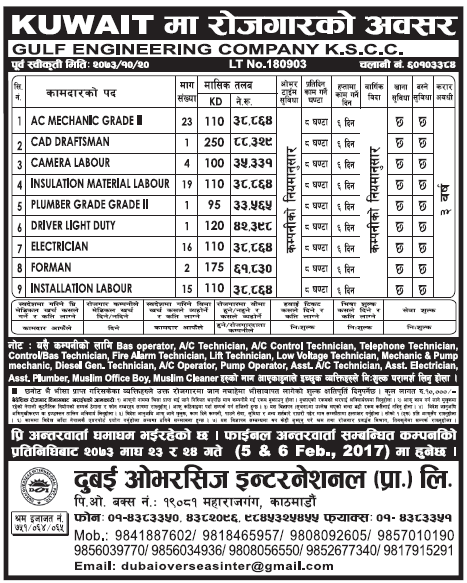 Jobs in Kuwait for Nepali, Salary Rs 88,329