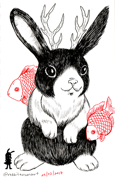Bunnylope series by Marta Tesoro aka Rabbit Town Art.  Done with faber castell indian ink and uniball red ink.