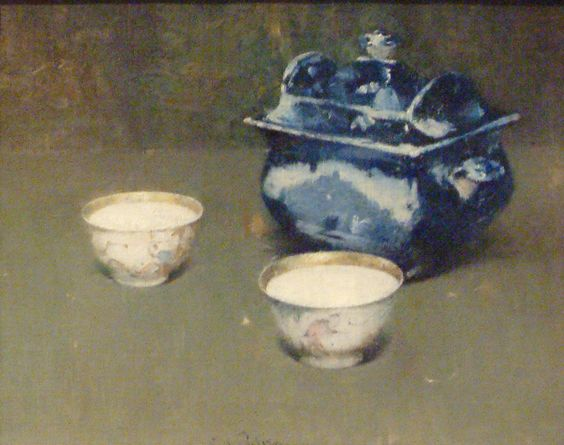 Magnificent still life with blue and white porcelain and teacups by Emil Carlsen Soren