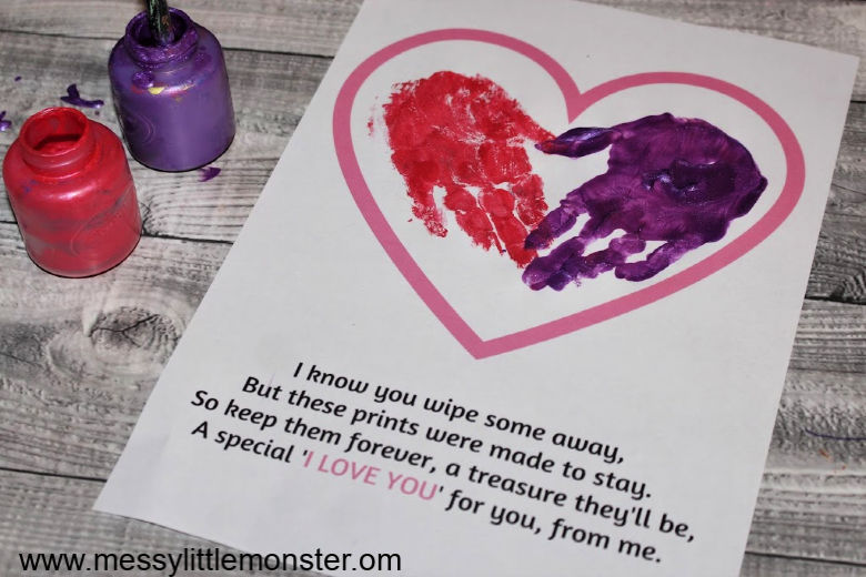Printable handprint poem keepsake.