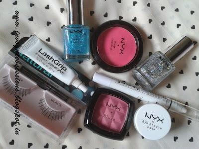 NYX Cream Blush, NYX Powder Blush in peach, Ardell Eyelashes, NYX Eye shadow Base in White, NYX Glitter Nail Polish, NYX Jumbo Eye pencil in White in India