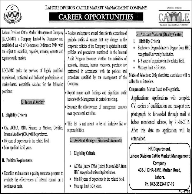 Government Jobs of Audit & Accounts in Cattle Market Management Company