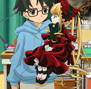 Jun and Shinku from anime Rozen Maiden, episode 1