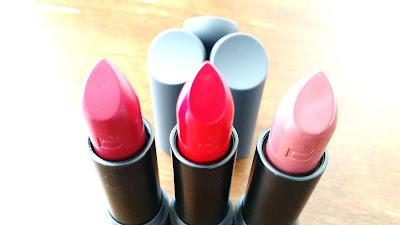 Amuse Bouche lipsticks in Beetroot, Gazpacho, and Pepper.