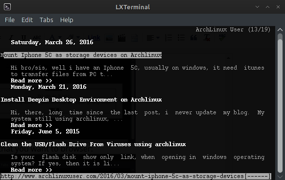 Elinks - free text-based console web browser - Archlinux