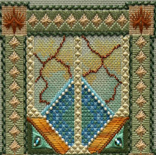 canvas work embroidery canvas work embroidery in an art nouveau style, two triangles in blue within a square