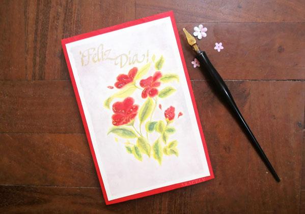 ¿Cómo hacer una tarjeta de flores con acuarela?