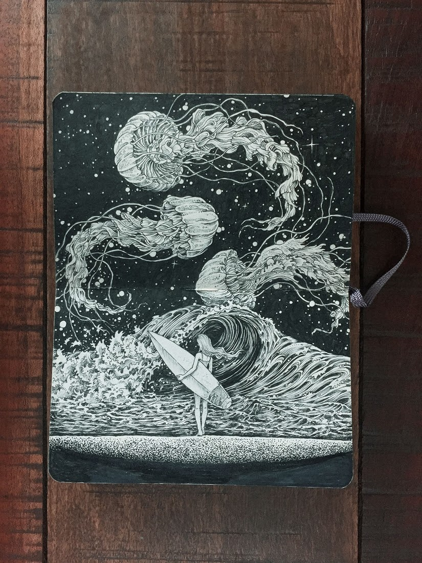 01-A-Good-Day-to-Surf-Kerby-Rosanes-Detailed-Moleskine-Doodles-with-many-Whales-www-designstack-co